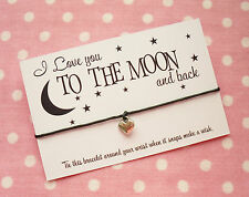 I Love you to the Moon & Indietro cuore charm wish Amicizia Braccialetto REGALO E SACCO