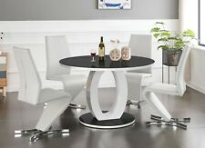 GIOVANI Round Black White Gloss Glass Dining Table Set and 4 Leather Chairs