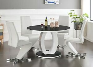 GIOVANI Round Black White Gloss Glass Dining Table Set & 4 Faux Leather Chairs