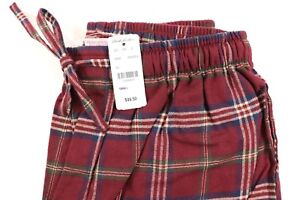 NWT BROOKS BROTHERS Small Men's Maroon Navy Plaid Cotton Flannel Lounge Pants