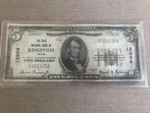 RARE 1929 $5 First National Bank NOTE Kingsville, Texas TX Charter 12968