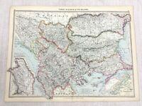 1909 Antik Landkarte Der Balkan Türkei Bulgarien Rumänien Serbien George Philip