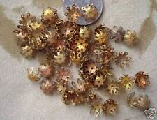 50 Vintage brass/copper  filigree bead caps, 10mm-12mm
