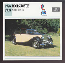 1946-1958 Rolls-Royce Silver Wraith British Car Photo Spec Sheet Info ATLAS CARD
