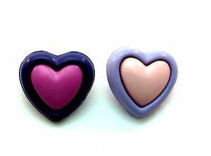 """Double Heart Novelty Buttons for Sewing Crafting Quilting 0.75"""" 20mm 2 Colors"""