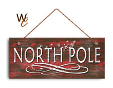 """Christmas Sign, 6""""x14"""" Sign, North Pole Sign, Rustic Holiday Decor, Holiday Gift"""