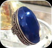 HAND CRAFTED NATURAL SAPPHIRE ANTIQUE 925 STERLING SILVER LADYS RING SIZE -8