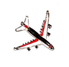 BROOCH/PIN GT Enamel Jet Airplane Boeing 747 Aviation RED & WHITE AIRLINER