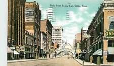 Texas, TX, Dallas, Main Street looking East 1909 Postcard