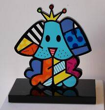 ROMERO BRITTO 'Royalty Dog', 2017 HAND-SIGNED Pop Sculpture Wood Black Base NEW!