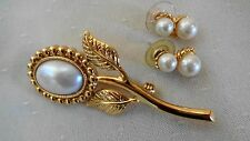 Lovely Vintage Gold Tone Faux Pearl Brooch and Earrings Set