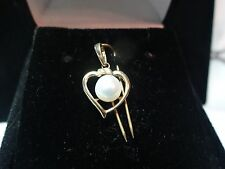 VINTAGE ESTATE 14K YELLOW GOLD GENUINE PEARL HEART NECKLACE PENDANT NO CHAIN
