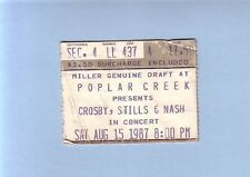 Crosby, Stills & Nash 8-15-1987 Original Concert Ticket Stub Poplar Creek