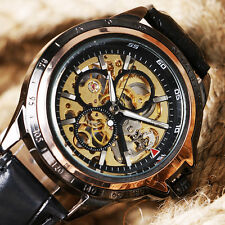 Winner Skeleton Dial Hand-winding Mechanical Modern Men Circles Wrist Watch
