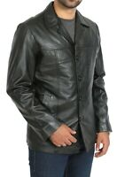 Mens Fitted Real Leather Blazer Reefer Jacket Single Breasted Gents Coat Black