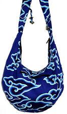 Sac Bandouliere Ethnique Sac à Main Coton Besace Ethnik Bag spirale bleu blue