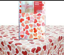 "Valentine's Day Tablecloth~Hearts in Red & Pink on White Background. 60""x84"""
