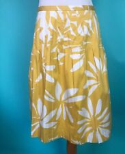 Lafayette 148 Yellow And White Pleated A-line Skirt Size 8