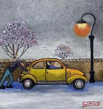 """Il riluttante Beetle: ORIGINALE 12"""" x 12"""" ARTE DEL NORD dipinto ad olio di cosa"""