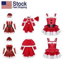 US Kid Girl Christmas Costume Santa Dance Dress + Xmas Hat Outfit Fancy Dress Up