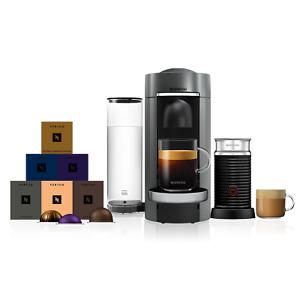 Nespresso Vertuo Plus Deluxe Titan Coffee Machine & Aeroccino3 + 60 Capsules