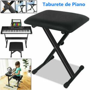 Piano Taburete Ajustable Banco Teclado Banqueta Cojín Asiento Cuero Artificial