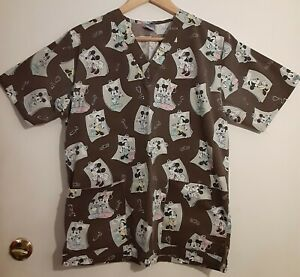 Disney Dr. Mickey and Minnie Scrub Top Shirt Sz Extra Small Brown All Over Print