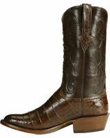 Cowboy en cuir imprimé à la main en cuir brun façon crocodile marron