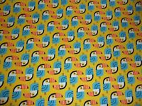 Parrot Little Senoritas Yellow Robert Kaufman Premium Quilt Cotton Fabric YARD