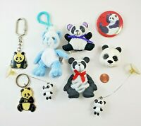 HUGE Giant PANDA bear LOT plush keychains magnets pin button decorations 90s