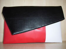 OVER SIZED COLOUR BLOCK BLACK,WHITE& RED clutch bag, Faux leather, lined