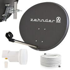 ZEHNDER Digitale Sat Anlage 60cm Spiegel Schüssel Single LNB 0,1dB Kabel HD grau