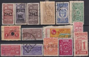 F-EX19325 COLOMBIA REVENUE STAMPS LOTS.