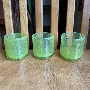 Crate & Barrel Calypso Green Mexican Tea Light Votive Candle Holders Set Of 3