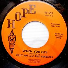 Billy Joy & the Verdicts ‎MOD SOUL Farfisa 45 One Twenty One ~When You Cry JR647