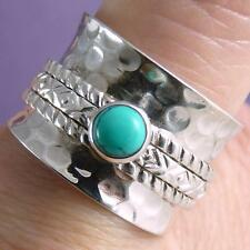 Hammered GEM Spinner US 6.25 SILVERSARI Ring Solid 925 Silver TURQUOISE SPR1064