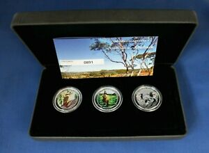 "2014 Australia 1/2oz Silver Proof Coloured 3 coin Set ""Outback"" in Case with COA"