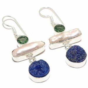 "Biwa Pearl, Titanium Druzy Gemstone 925 Silver Jewelry Earring 2.2"" RJ3934"