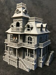 HO Scale Built Gray Miniature Victorian #4 Mansion Haunted House SHELL ONLY