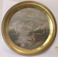 """Very Good Antique Folk Art Painted Brass Flue Cover With Cabin In Mountains 12"""""""