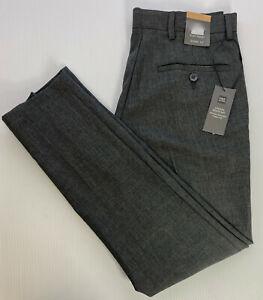"Mens M&S Grey Skinny Fit Trousers Flat Front W28"" L31"" Reg Crease Resist RRP£15"