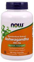 NOW FOODS ASHWAGANDHA 450MG   180 Veg Capsules Stress Anxiety Fatigue Immune !
