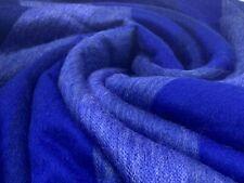 SOFT & WARM BLUE STRIPED ALPACA WOOL BLANKET PLAID 230x165 cm HANDMADE ECUADOR