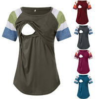 Women Pregnancy Nursing Short Sleeve Top Stripe T Shirt Maternity Blouse Clothes