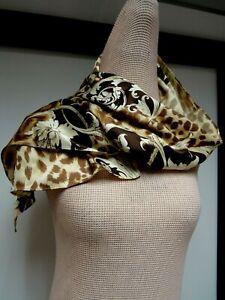 Floral Scroll Satin Silk 15 1/4 x 43 1/2 Long Scarf Leopard Acorn Black Gold EUC