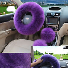 Purple Universal Woolen Long Plush Steering Wheel Cover Car Grips Accessory