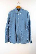 Tommy Hilfiger Custom Fit Herren Hemd Gr. M Langarm Karo Shirt Blau