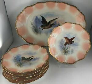 "Klingenberg & Dwenger AKCD Limoges Platter & (6) Luncheon plates "" Birds """