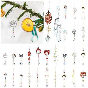 Iron Hoop Outdoor Hanging Crystal Wind Chimes Ornament Garden Indoor Home Decor
