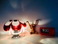 🔴 lampada vintage in vetro di Murano Design Mazzega anni 70 colore burgundy